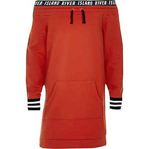Robe pull Bardot RI rouge pour fille