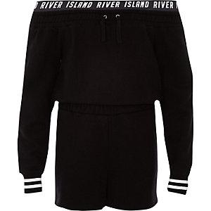 Zwarte sweater-playsuit in bardotstijl met RI-logo voor meisjes