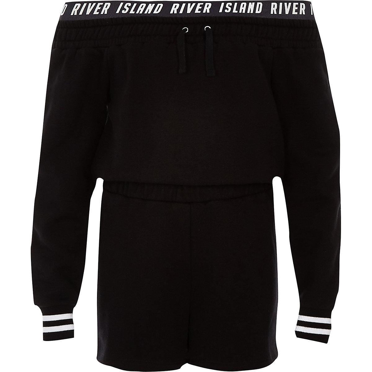 Girls black RI bardot sweater playsuit