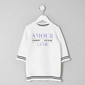 Mini girls cream 'Amour' sweater dress