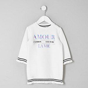 Mini - Crèmekleurige 'Amour'-trui-jurk voor meisjes