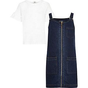 Outfit met blauw T-shirt en overgooierjurk voor meisjes