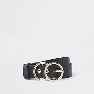 Girls black RI embossed double circle belt