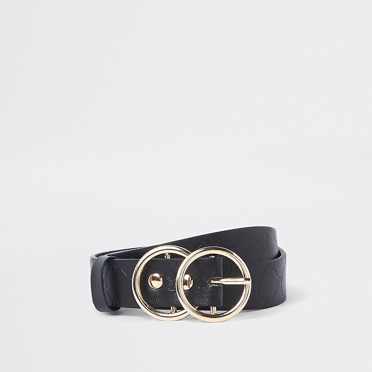 Girls black RI embossed double circle belt