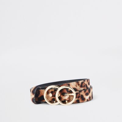 Light Brown Leopard Print Double Circle Belt by River Island