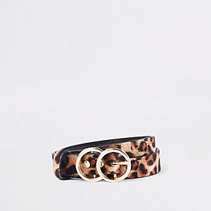 Lichtbruine riem met luipaardprint en dubbele cirkel