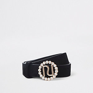 Girls black RI rhinestone buckle belt