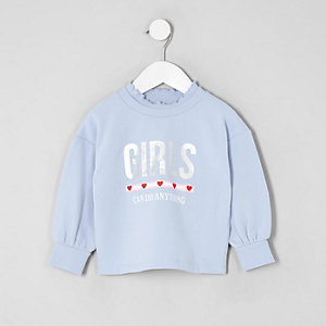 Girls blue 'Girls can do anything' sweatshirt