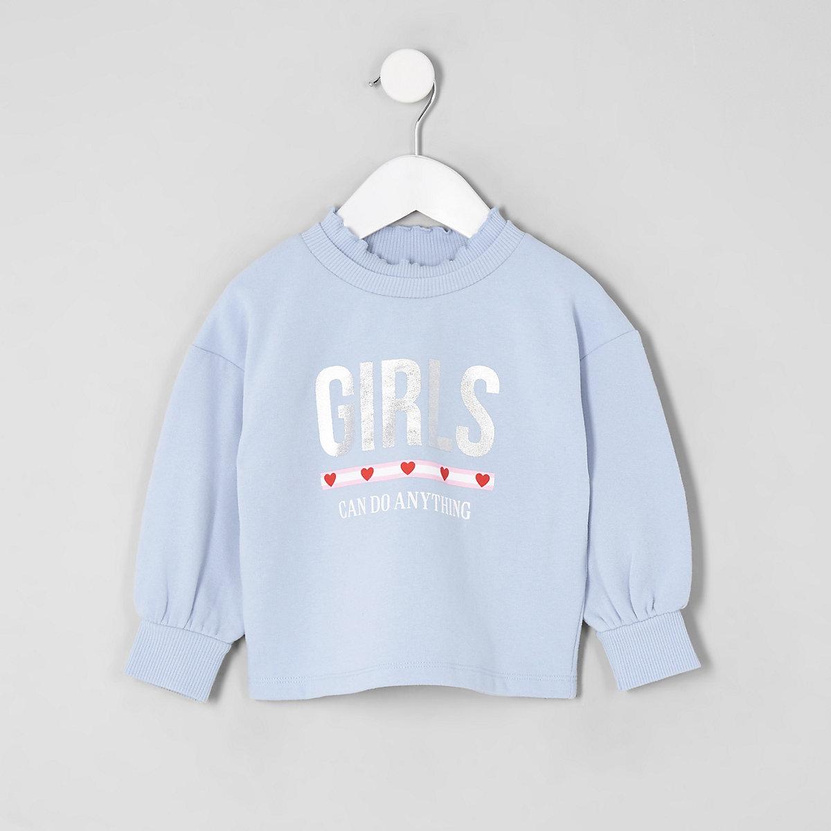 Girls blue 'Girls can do anything' sweatshirt