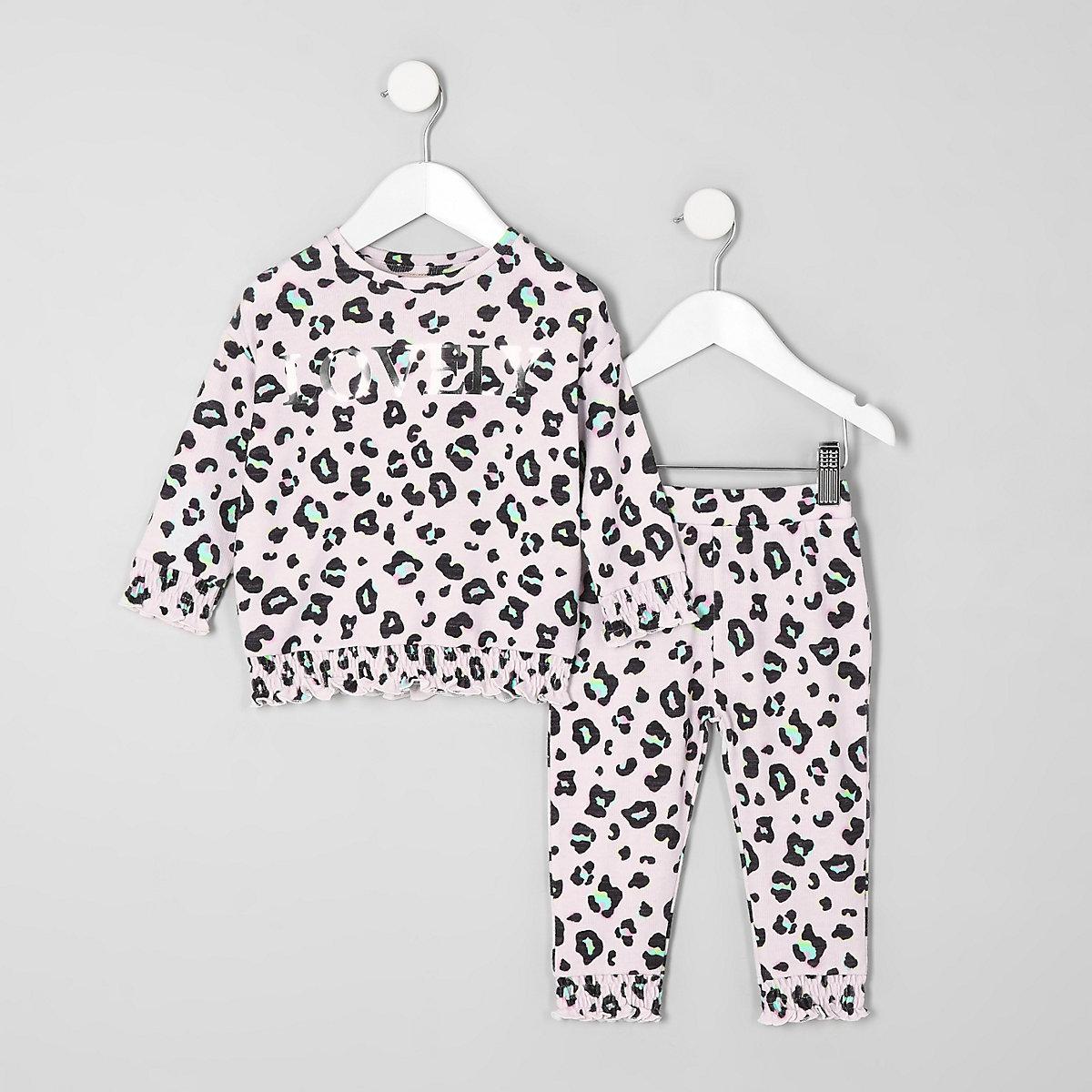 Mini girls pink leopard print cosy set