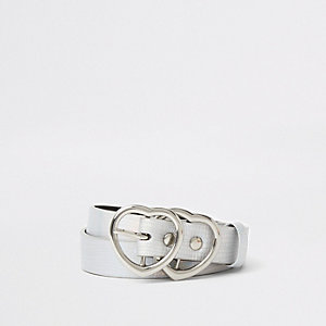 Girls silver holographic heart ring belt