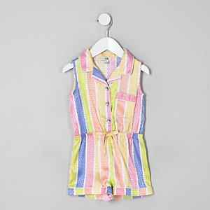 Mini girls yellow stripe sleeveless playsuit