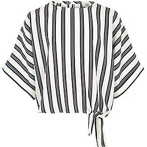 Girls white stripe tie side T-shirt