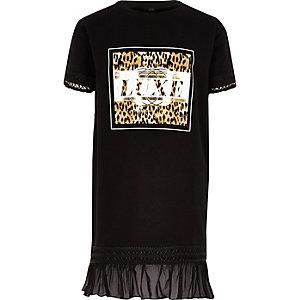 Girls black 'Luxe' leopard T-shirt dress