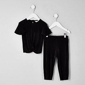 Mini - Outfit met zwart plissé T-shirt voor meisjes