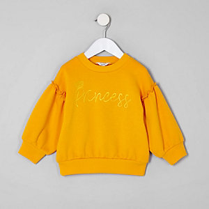 Mini girls yellow 'Princess' sweatshirt