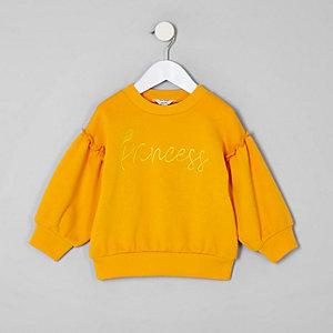 Mini - Geel sweatshirt met 'Princess'-print voor meisjes