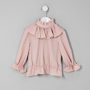 Mini girls pink frill high neck blouse