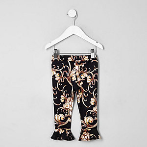 Mini girls black baroque frill flute leggings