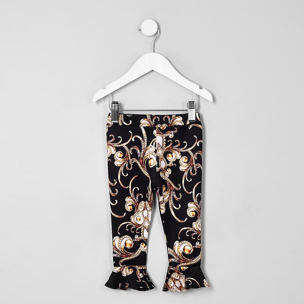 Mini girls black baroque frill flute leggings