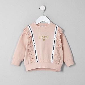Mini girls coral lace trim 'love' sweatshirt