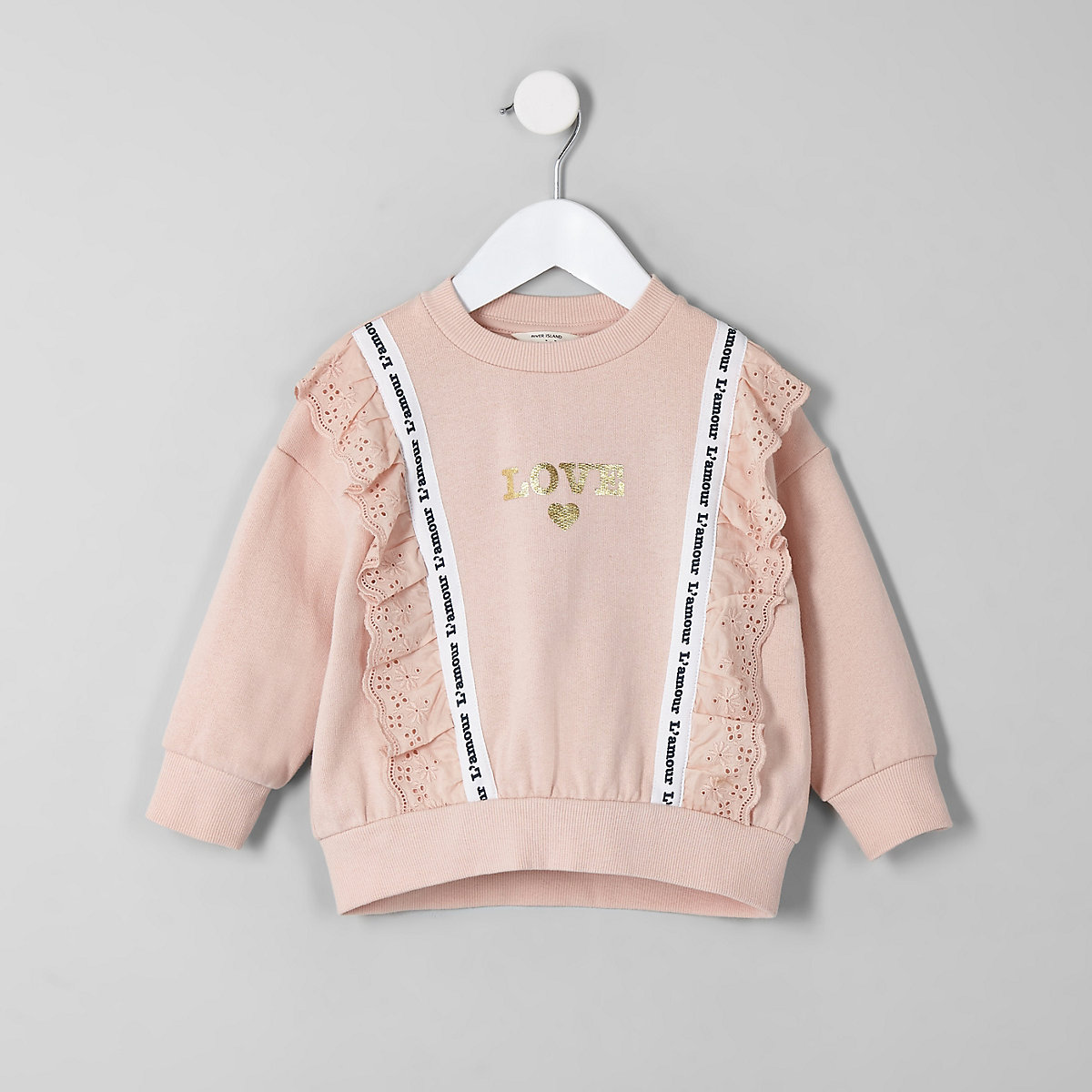Mini girls coral lace trim 'love' sweatshirt