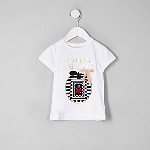 Mini - Wit 'petite cherie' T-shirt voor meisjes