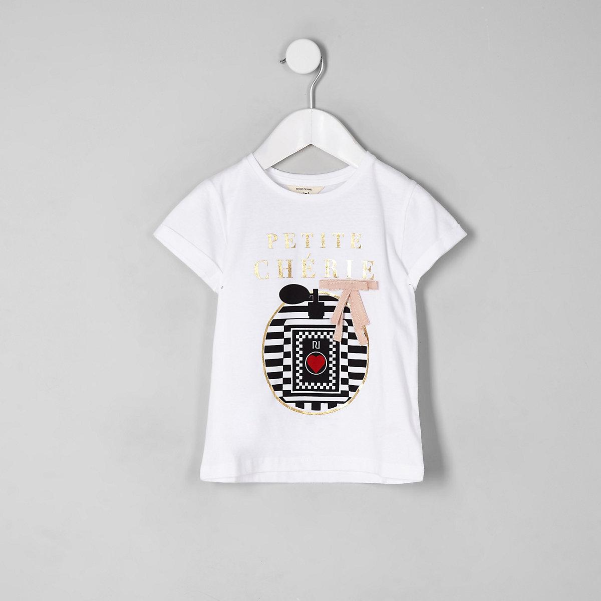 Mini girls white 'petite cherie' T-shirt