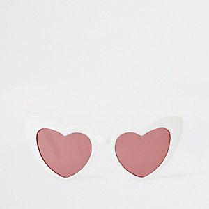Witte cat-eye-zonnebril met hartjes voor meisjes
