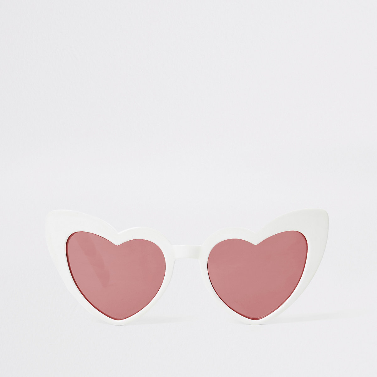 Girls white heart cat eye sunglasses