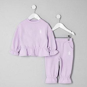 Ensemble avec sweat violet à volants pour mini fille