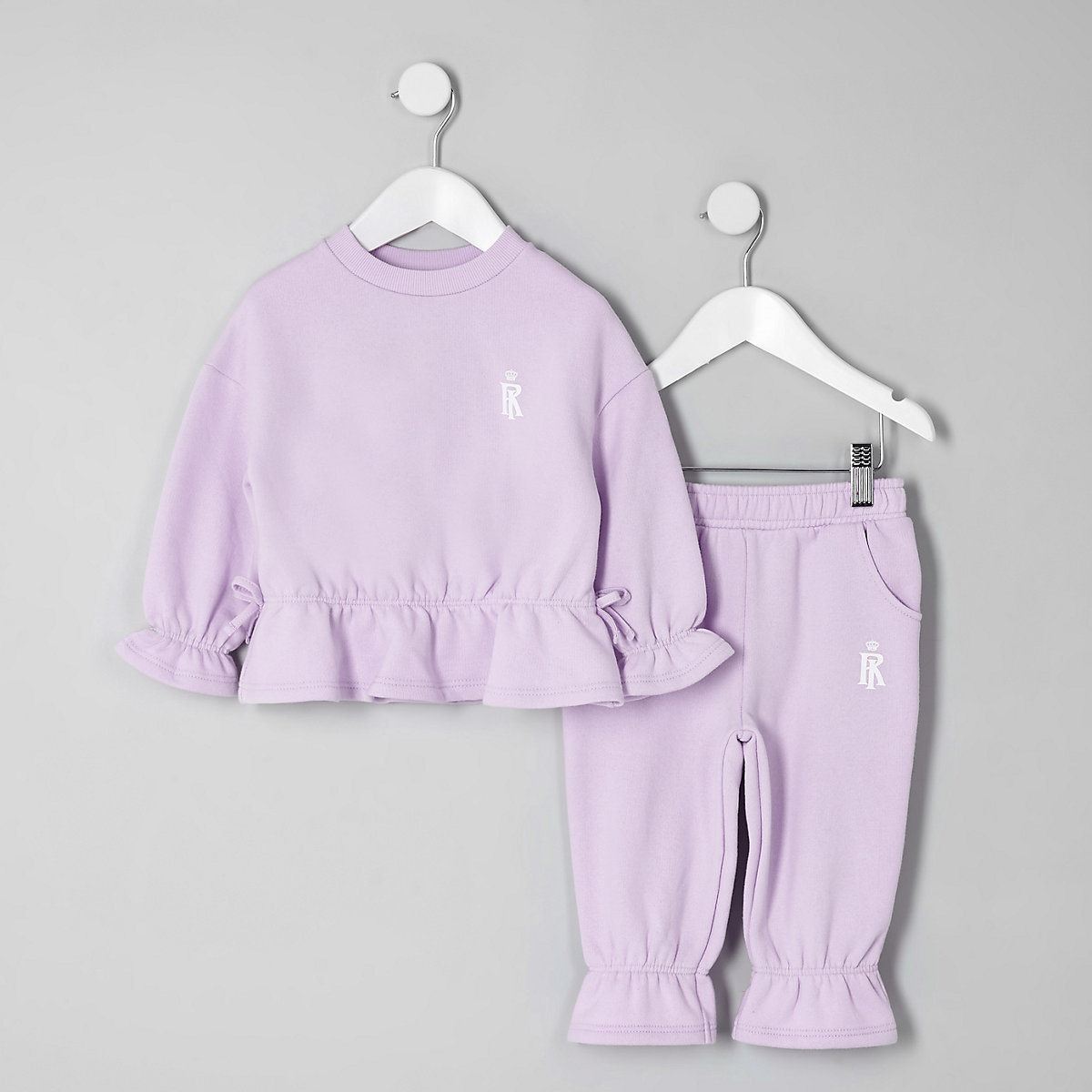 Mini girls purple frill sweatshirt outfit