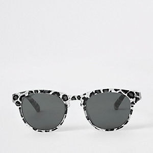 Mini girls silver leopard print sunglasses