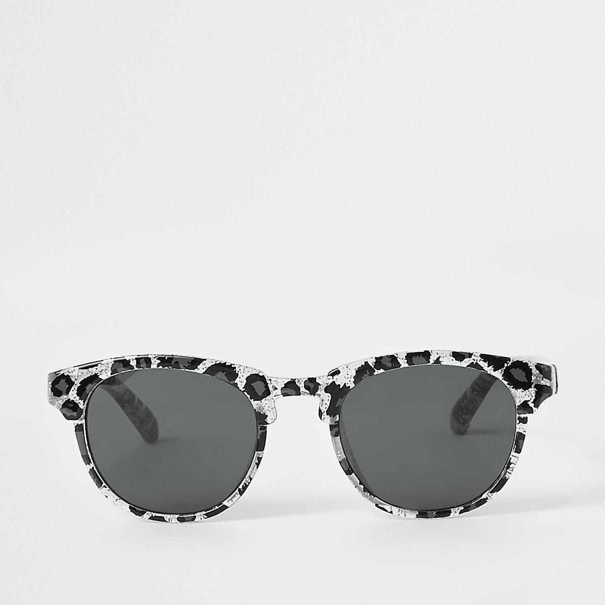 Mini girls silver leopard print sunglasses