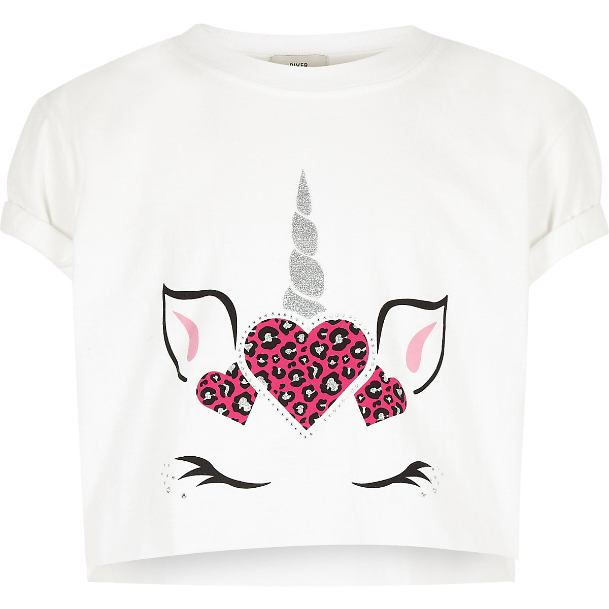 Girls white unicorn crop T-shirt