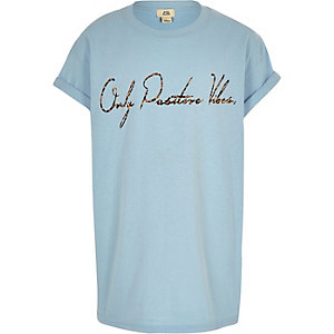 Girls blue 'positive vibes' print T-shirt