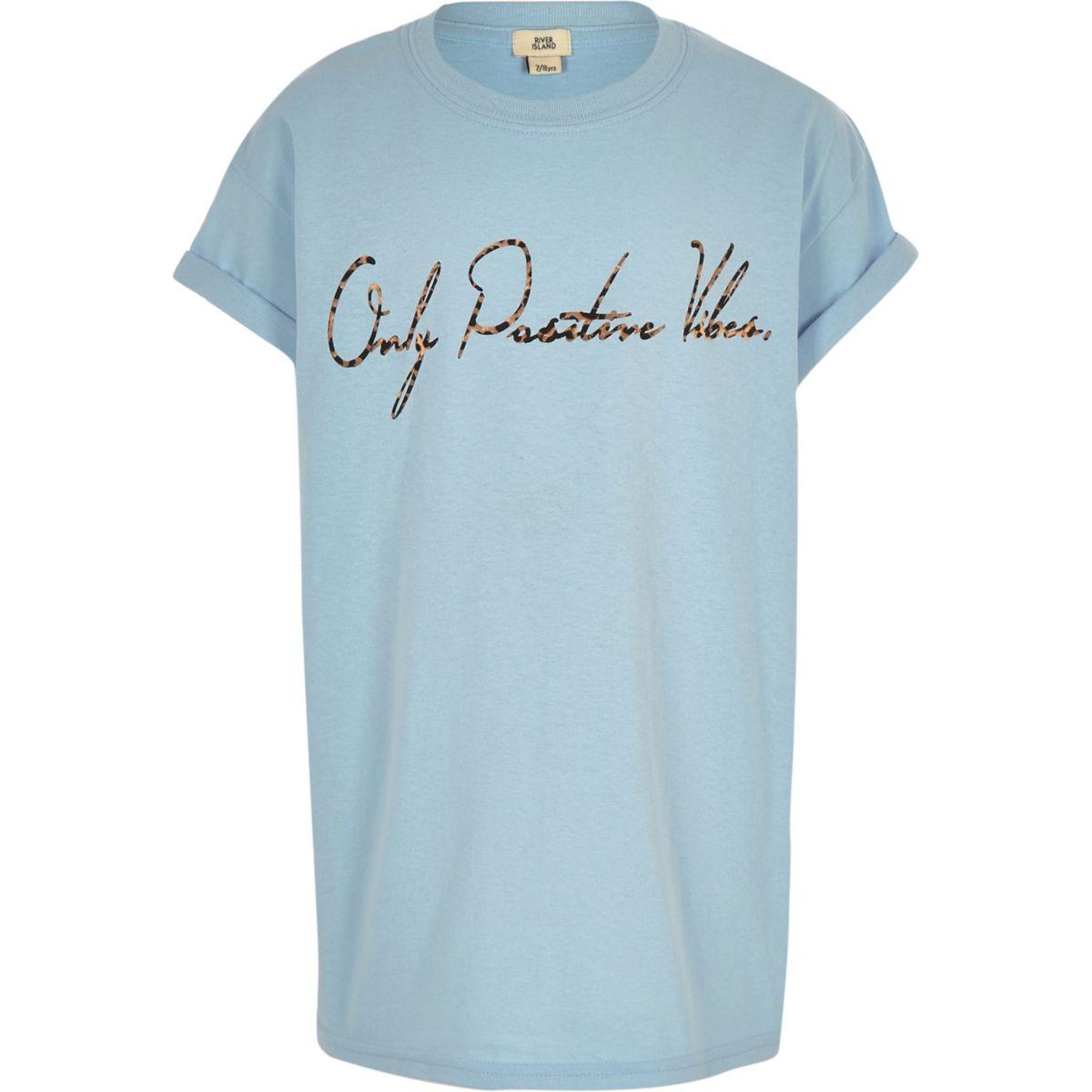 Girls blue 'positive vibes' print T-shirt