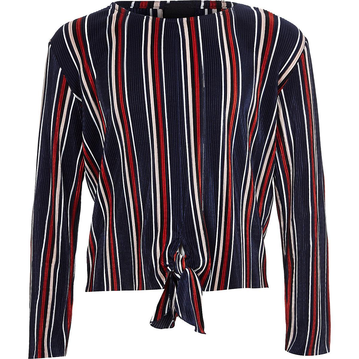 Girls navy stripe plisse tie front top