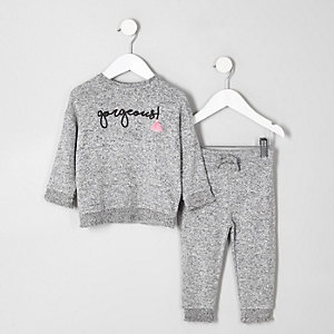Mini girls grey shirred hem outfit