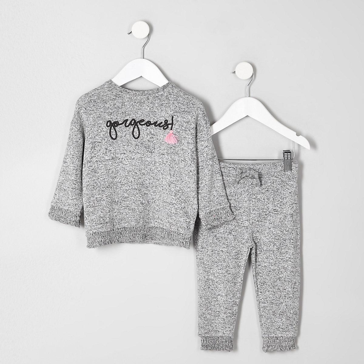 Mini girls grey shirred hem outfit