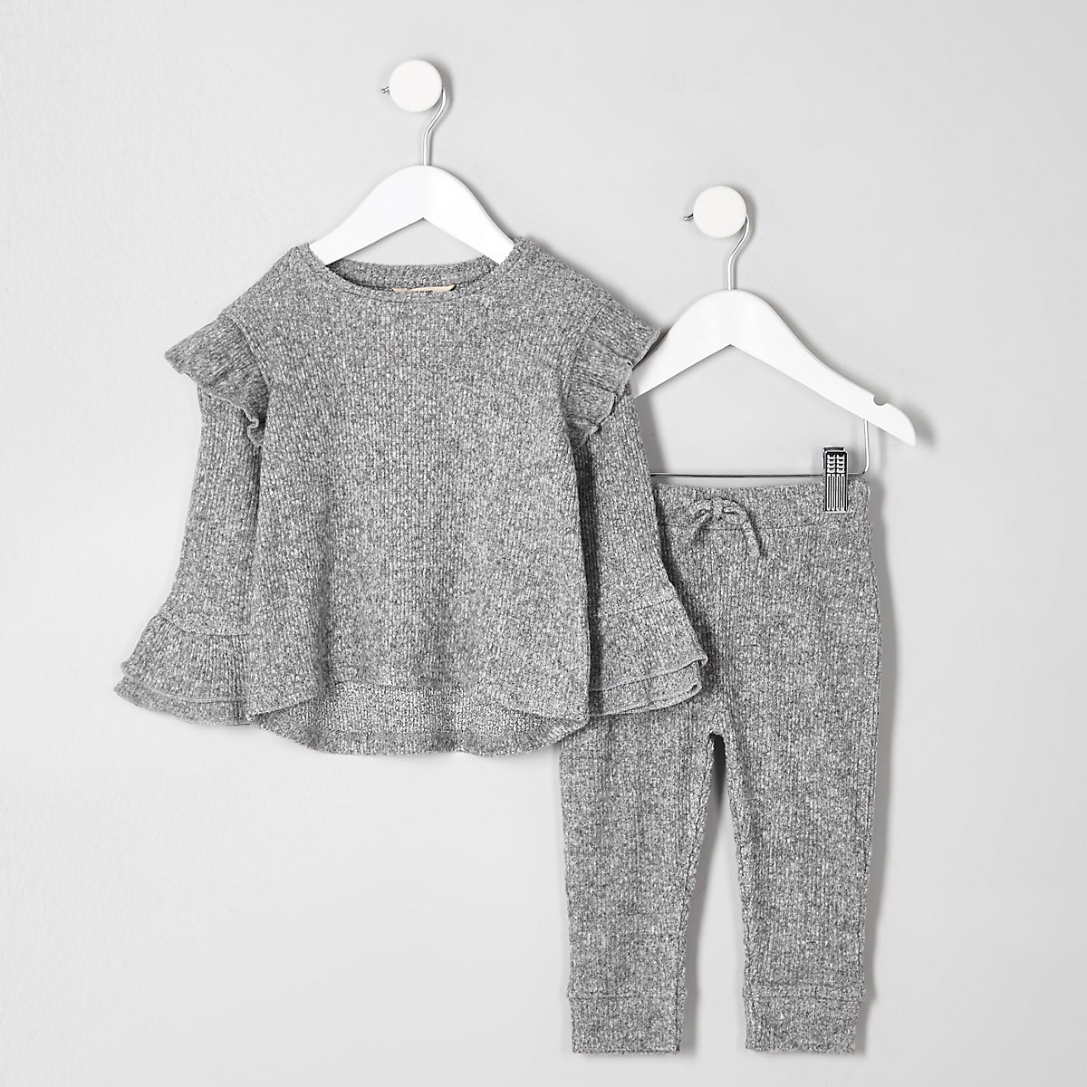 Mini girls grey frill hem sweat set
