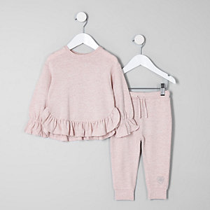 Ensemble avec sweat rose à volants mini fille