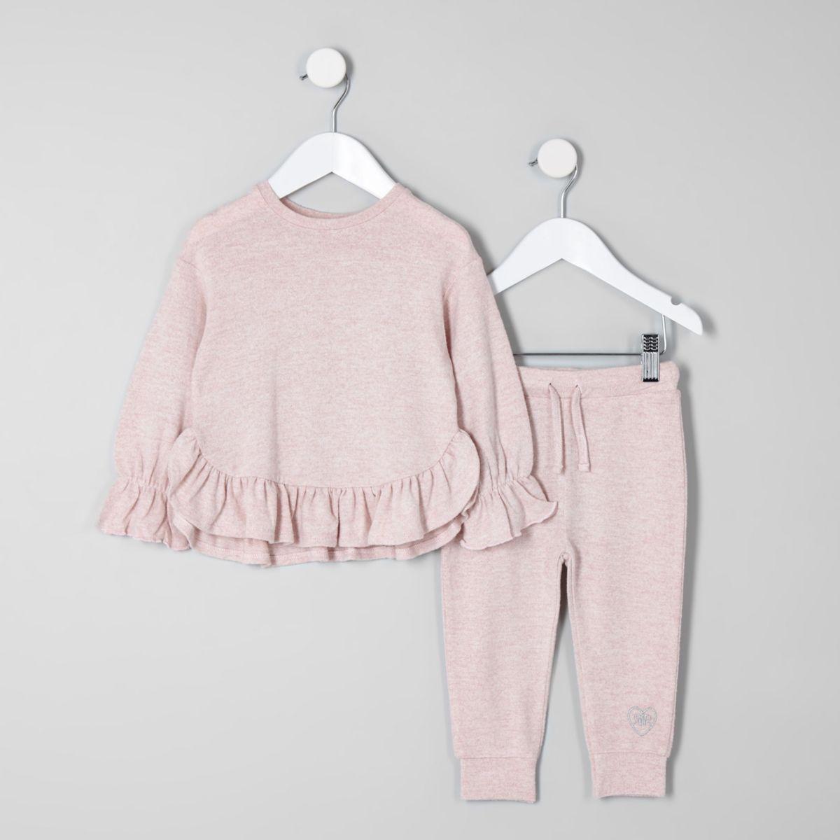 Mini girls pink frill hem sweat set