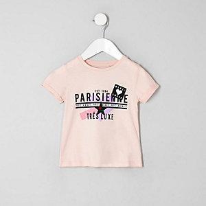 T-shirt à inscription « Parisienne » rose mini fille
