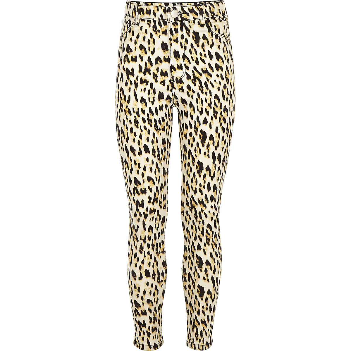 Girls brown Molly leopard print jeggings