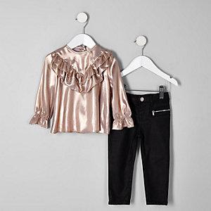 Mini - Outfit met roze freyatop en jeans voor meisjes