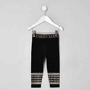 Mini girls black numerical leggings
