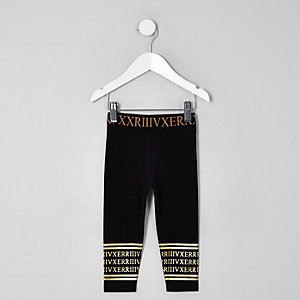 Mini girls black numerical leggings