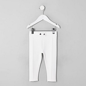 Pantalon en maille point de Rome blanc mini fille