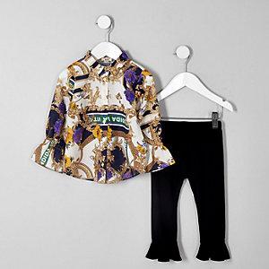 Outfit mit Hemd in Creme und Print